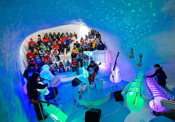 Orchestra Performs With Icey Instruments