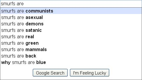 google search suggestions smurfs