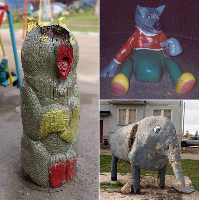 The Horror! Creepy Creature In Russian Playground