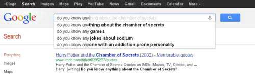 google search suggestions chamber of secrets