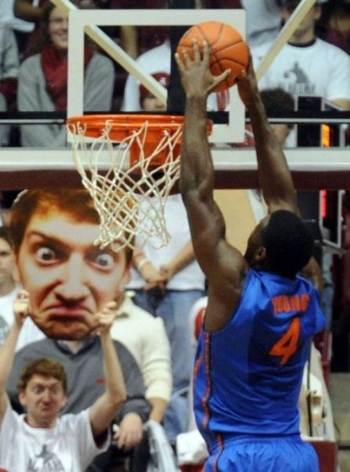 Funny Fan Distracting Player During Free Shot