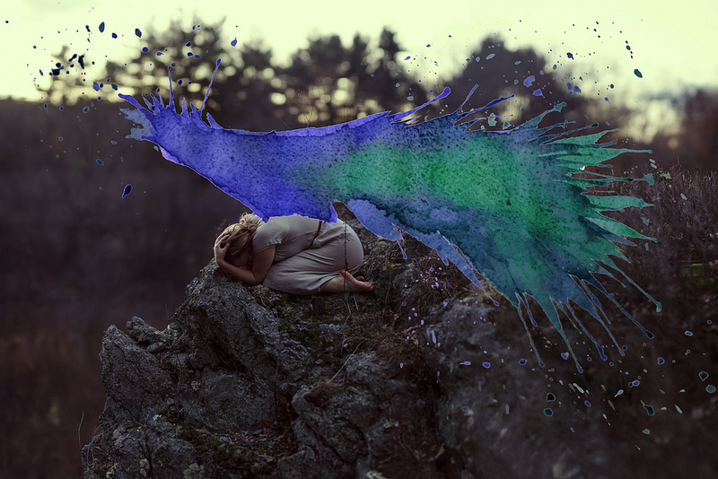 amazing paintings merged by photographs and watercolors