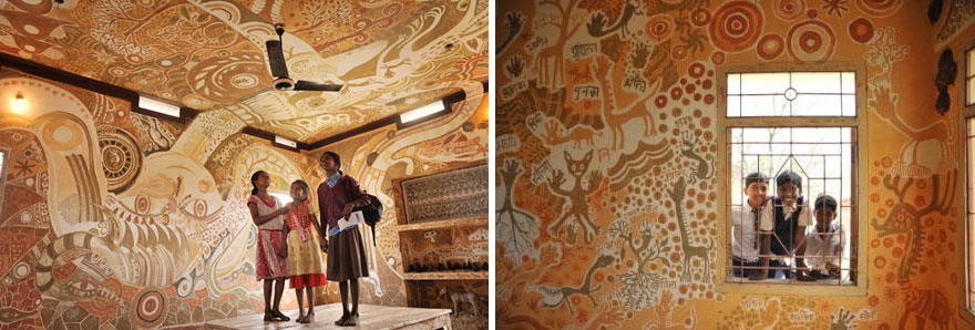 Stunningly Intricate Mud Paintings on School Walls: Poor Children Got the Access to Art