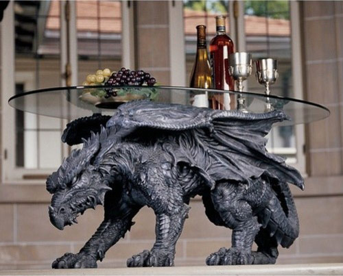 glass is held up on the back of a dragon