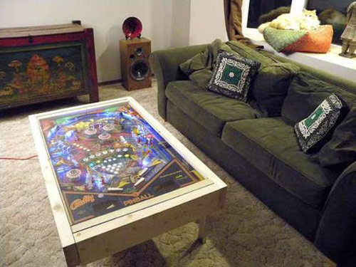 wood table with pinball top