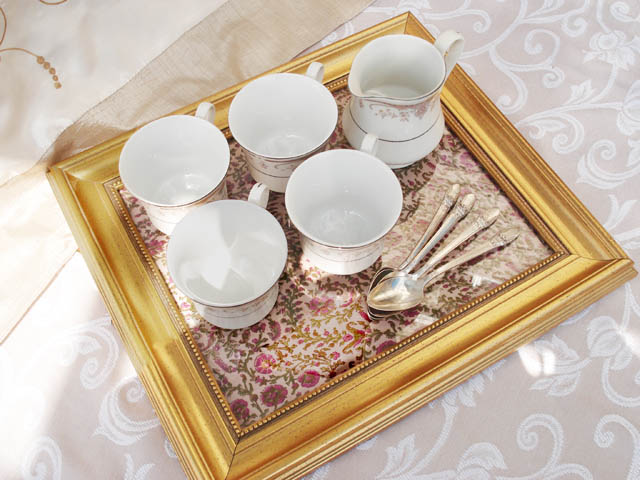 using picture frame as serving tray