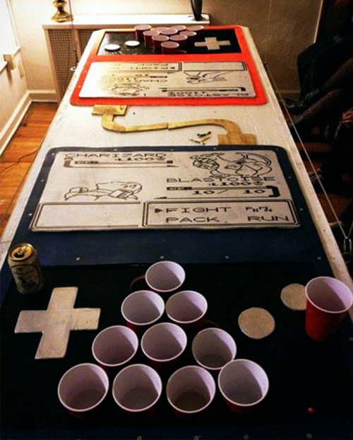 beer pong table looks like pokemon head-to-head