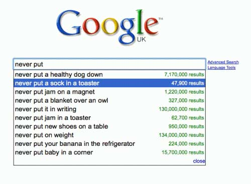 google search suggestions sock