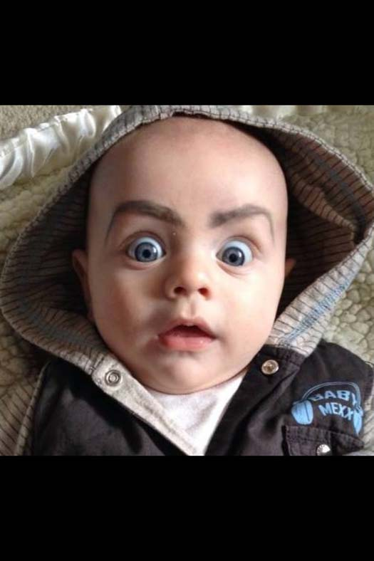 baby with eyebrows