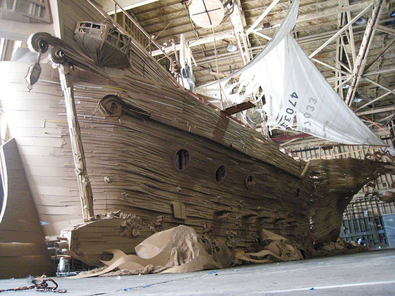 awesome full-sized ghost ship made of cardboard