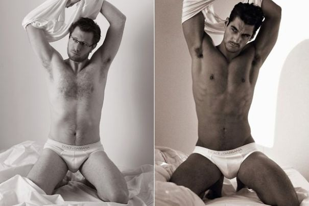 Normal Guys as the Underwear Models: Comparing with the Real Models