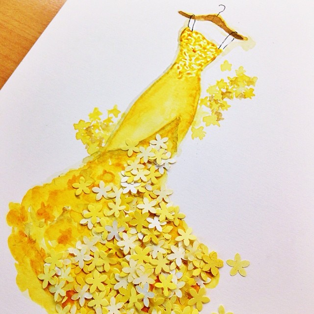 Stunning Fashion Designs Sketched by Real Flower Petals (1)