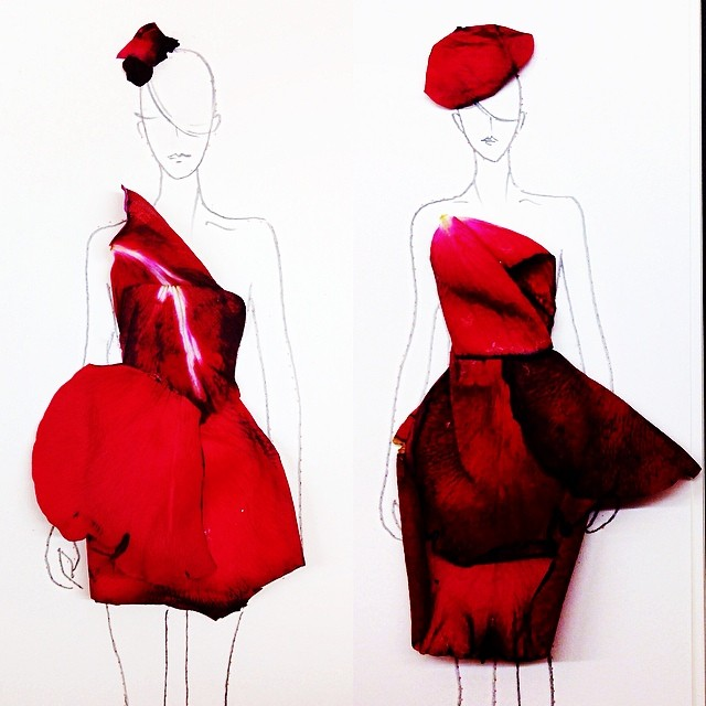 Stunning Fashion Designs Sketched by Real Flower Petals (10)