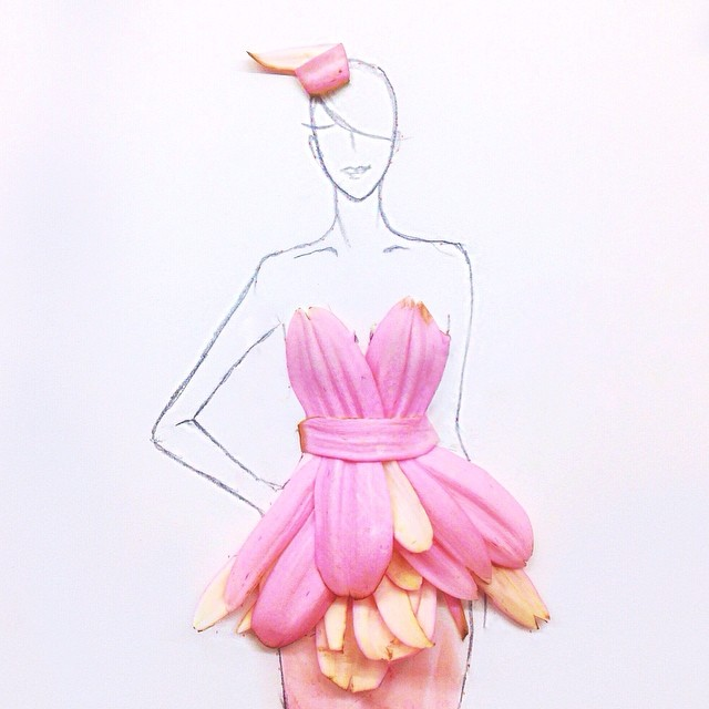 Stunning Fashion Designs Sketched by Real Flower Petals (11)