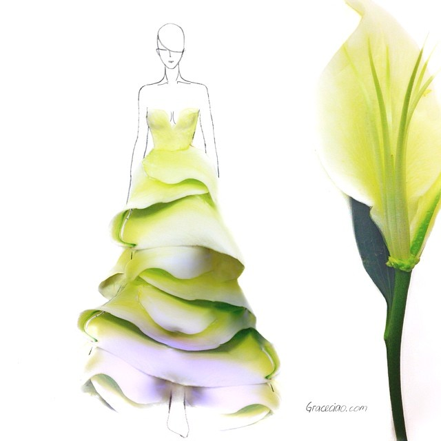 Stunning Fashion Designs Sketched by Real Flower Petals (13)