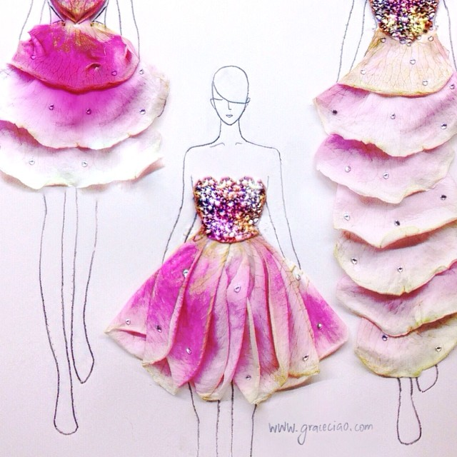 Stunning Fashion Designs Sketched by Real Flower Petals (14)