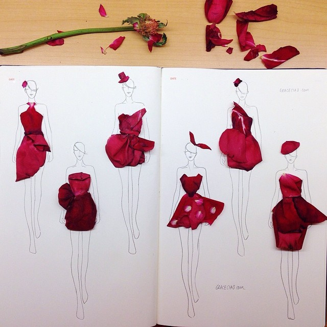 Stunning Fashion Designs Sketched by Real Flower Petals (15)