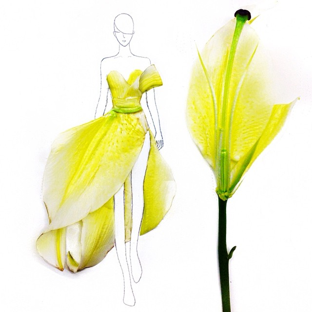 Stunning Fashion Designs Sketched by Real Flower Petals (17)