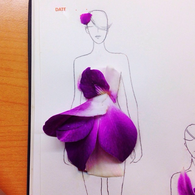 Stunning Fashion Designs Sketched by Real Flower Petals (19)