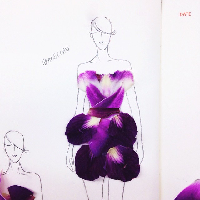 Stunning Fashion Designs Sketched by Real Flower Petals (21)