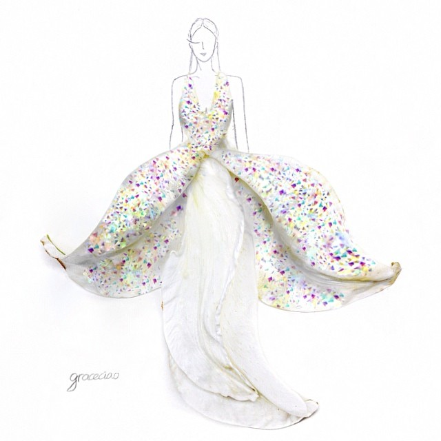 Stunning Fashion Designs Sketched by Real Flower Petals (22)