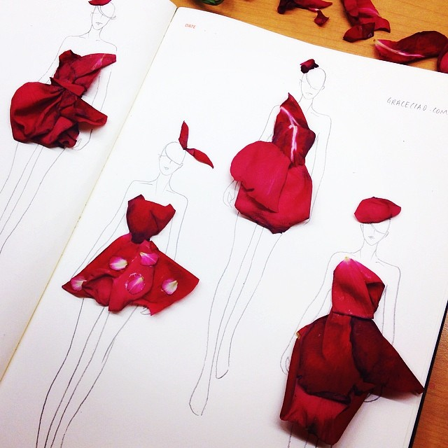 Stunning Fashion Designs Sketched by Real Flower Petals (24)