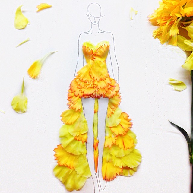 Stunning Fashion Designs Sketched by Real Flower Petals (25)