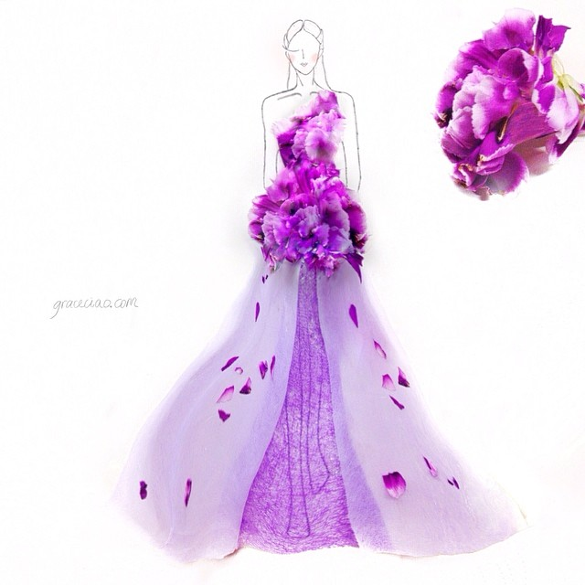 Stunning Fashion Designs Sketched by Real Flower Petals (26)