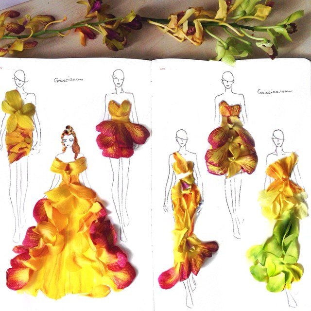 Stunning Fashion Designs Sketched by Real Flower Petals (27)
