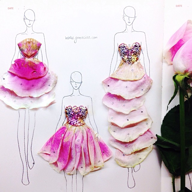 Stunning Fashion Designs Sketched by Real Flower Petals (28)