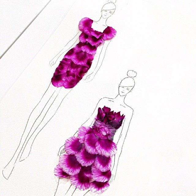 Stunning Fashion Designs Sketched by Real Flower Petals (29)