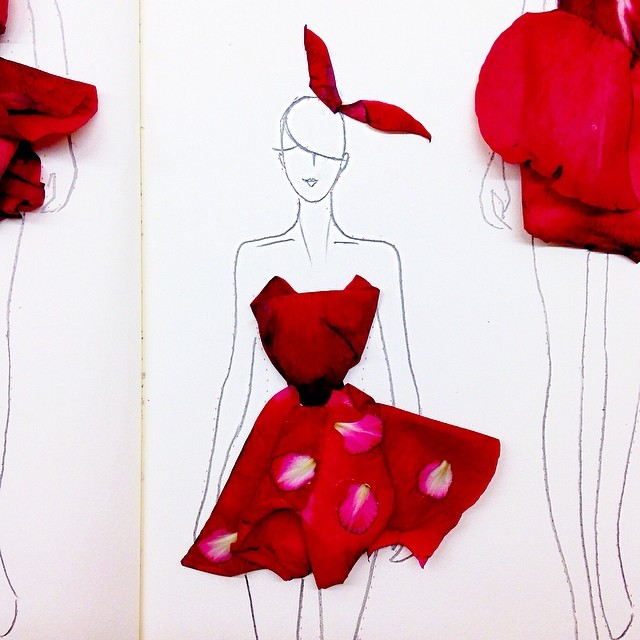 Stunning Fashion Designs Sketched by Real Flower Petals (3)