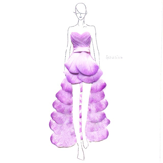 Stunning Fashion Designs Sketched by Real Flower Petals (31)