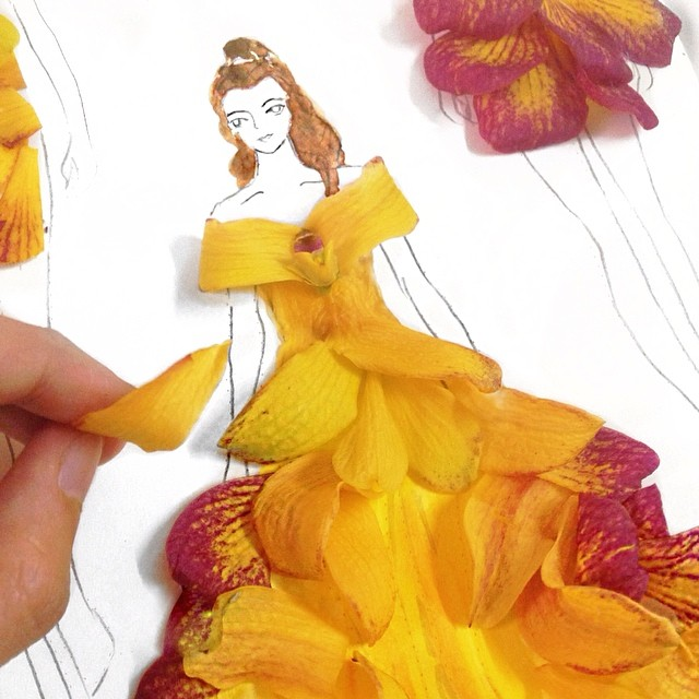 Stunning Fashion Designs Sketched by Real Flower Petals (32)