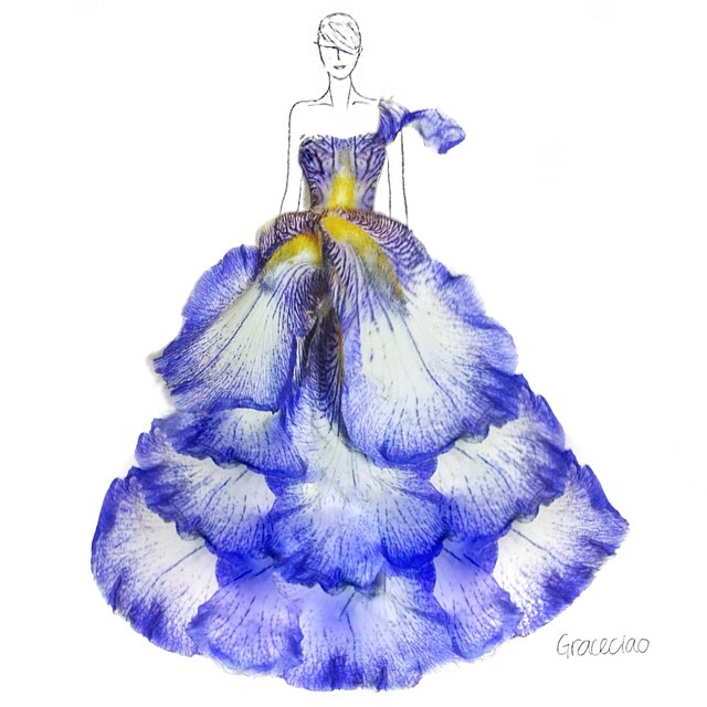 Stunning Fashion Designs Sketched by Real Flower Petals (34)