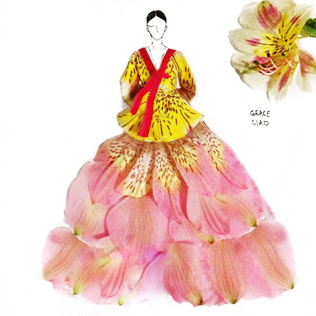 Stunning Fashion Designs Sketched by Real Flower Petals (35)