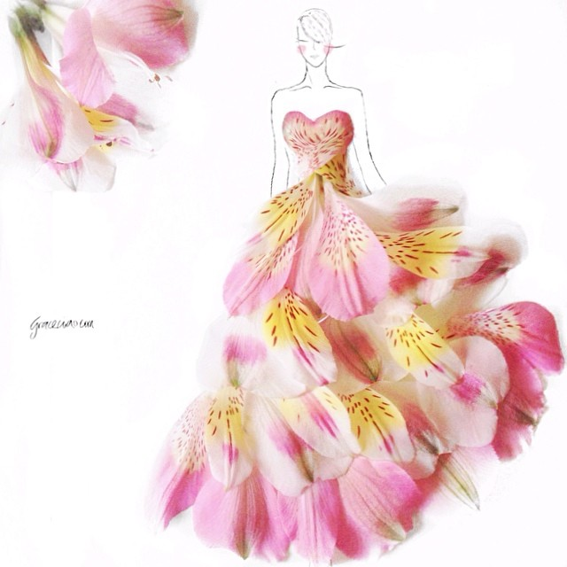 Stunning Fashion Designs Sketched by Real Flower Petals (36)