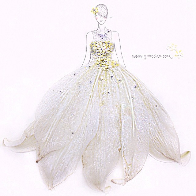 Stunning Fashion Designs Sketched by Real Flower Petals (4)