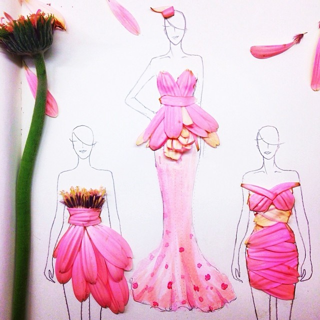 Stunning Fashion Designs Sketched by Real Flower Petals (5)