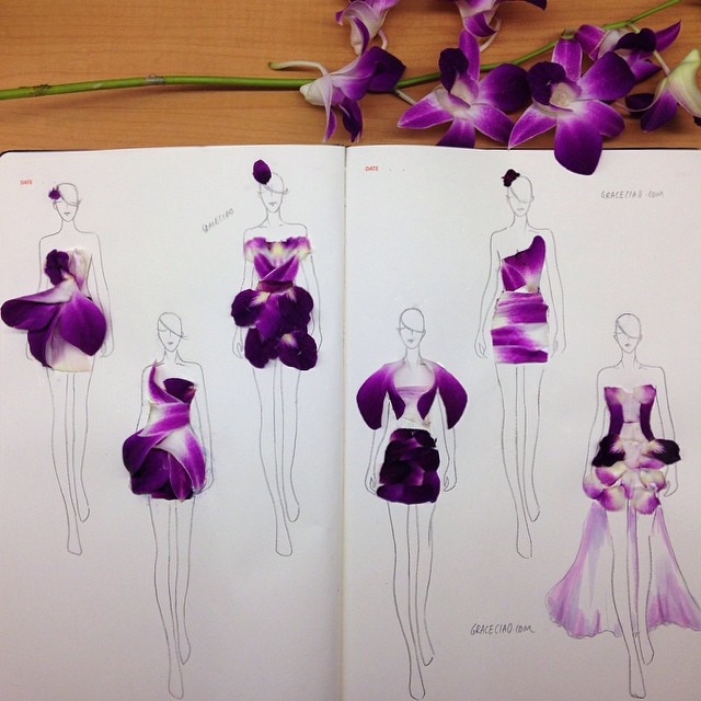 Stunning Fashion Designs Sketched by Real Flower Petals (6)