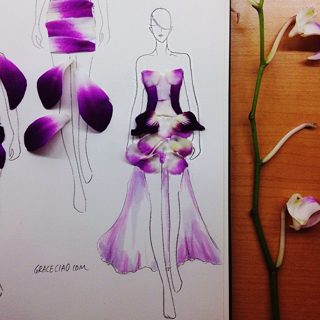 Stunning Fashion Designs Sketched by Real Flower Petals (9)