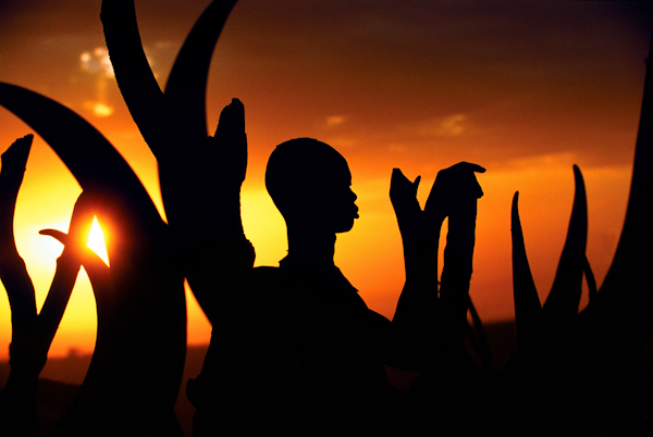 Silhouette of Dinka Man with Horns