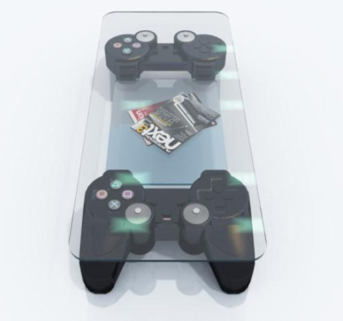 table top help up with two playstation controllers