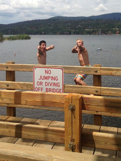 I do what I want jumping off a bridge