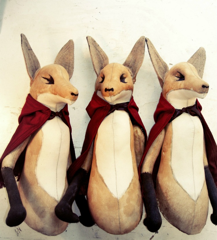 Textile Foxes In Red Cloaks