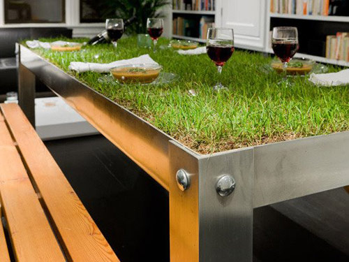 top of table covered with grass