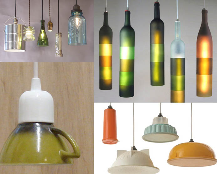 light fixtures made from wine bottles ceramic mugs buckets and bowls