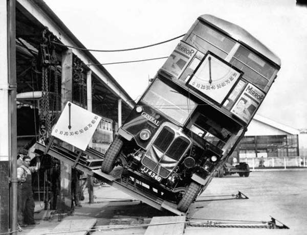 19. Makers of the London double decker bus prove that they weren't a tipping hazard (1933).