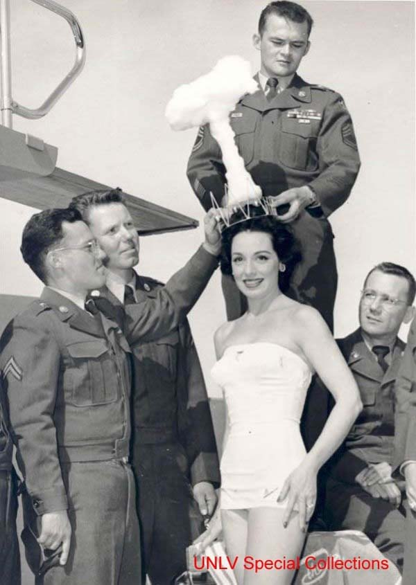 32. The winner of the Miss Atomic Bomb pageant is crowned (1950).