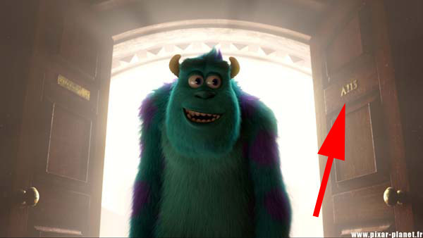 "It says ""A113"", just like this door number in Monsters University ."